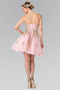 Elizabeth K GS2371 Sweet hearted A-line Tulle Short Dress with Corset Back in Blush - SohoGirl.com