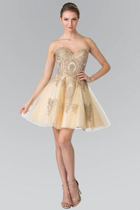 Elizabeth K GS2371 Sweet hearted A-line Tulle Short Dress with Corset Back in Champagne - SohoGirl.com
