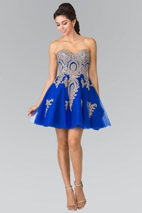 Elizabeth K GS2371 Sweet hearted A-line Tulle Short Dress with Corset Back in Royal Blue