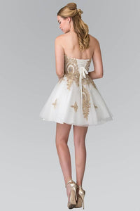 Elizabeth K GS2371 Sweet hearted A-line Tulle Short Dress with Corset Back in White