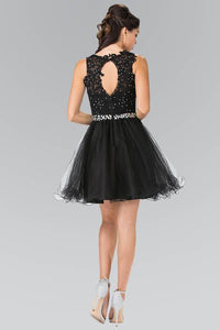 Elizabeth K GS2375 Lace Illusion Top A-line Short Dress with Beaded Waist in Black - SohoGirl.com