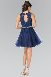 Elizabeth K GS2375 Lace Illusion Top A-line Short Dress with Beaded Waist in Navy