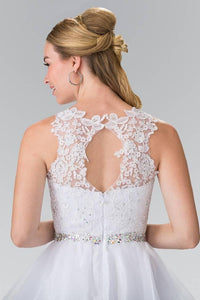 Elizabeth K GS2375 Lace Illusion Top A-line Short Dress with Beaded Waist in White