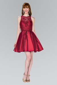Elizabeth K GS2383 Lace Bodice Short Dress in Burgundy - SohoGirl.com