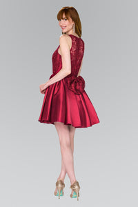 Elizabeth K GS2383 Lace Bodice Short Dress in Burgundy