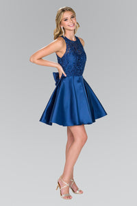 Elizabeth K GS2383 Lace Bodice Short Dress in Navy