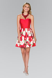 Elizabeth K GS2385 Rose Print Strapless Dress in Red - SohoGirl.com