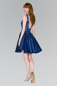 Elizabeth K GS2387 V-Neck Lace Top Dress in Navy - SohoGirl.com