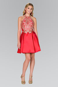 Elizabeth K GS2389 High-Neck Lace Dress in Red - SohoGirl.com