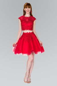 Elizabeth K GS2397 Two-Piece Lace Applique Short Dress in Red