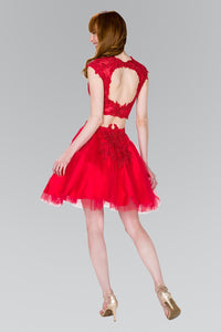 Elizabeth K GS2397 Two-Piece Lace Applique Short Dress in Red - SohoGirl.com
