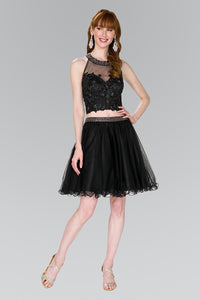 Elizabeth K GS2398 Two-Piece Strap-Back Tulle Dress in Black - SohoGirl.com
