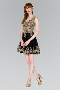 Elizabeth K GS2403 Tulle Short Dress Accented with Gold Lace in Black