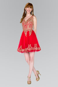 Elizabeth K GS2403 Tulle Short Dress Accented with Gold Lace in Red