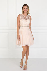Elizabeth K GS2410 Lace Top Chiffon Skirt Illusion Dress in Champagne