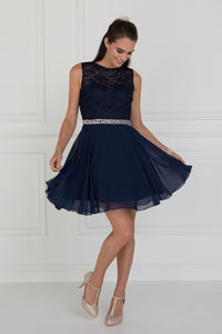 Elizabeth K GS2410 Lace Top Chiffon Skirt Illusion Dress in Navy