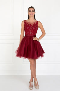 Elizabeth K GS2414 Embroidered Bodice Tulle Short Dress in Burgundy