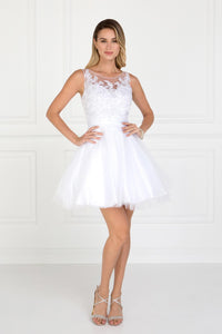 Elizabeth K GS2414 Embroidered Bodice Tulle Short Dress in White