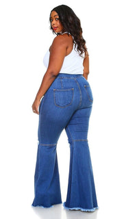 Plus Size Vibrant Ripped Knee Super Flare Jeans - Medium Denim