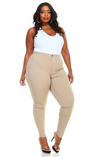 Plus Size Super High Waisted Stretchy Skinny Jeans - Khaki - SohoGirl.com