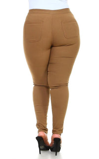 Plus Size Super High Waisted Stretchy Skinny Jeans - Mocha - SohoGirl.com