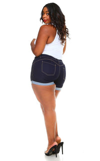 Plus Size Stretchy Mid Rise Cuffed Denim Shorts - Dark Denim