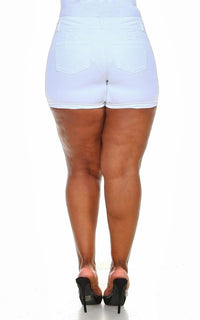 Plus Size Stretchy 3-Button Cuffed Denim Shorts - White