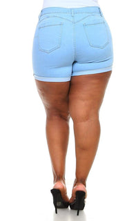 Plus Size Stretchy Mid Rise Cuffed Denim Shorts - Light Denim