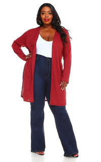 Plus Size Long Ribbed Side Slit Cardigan - Rust