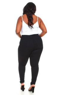 Plus Size Vibrant Solid Stretchy Skinny Jeans in Black