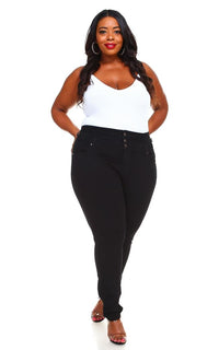 Plus Size 3-Button High Waisted Denim Skinny Jeans - Black