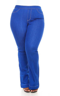 Plus Size Mid Rise Denim Bootcut Pants in Vibrant Blue (S-3XL)