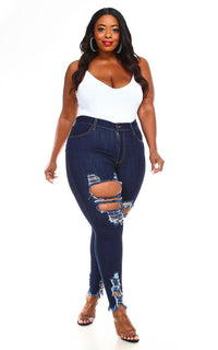 Plus Size Distressed High Waisted Ripped Skinny Jeans - Dark Denim