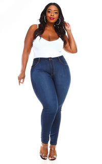 Vibrant Plus Size Super Stretch High Rise Jeans in Medium Wash