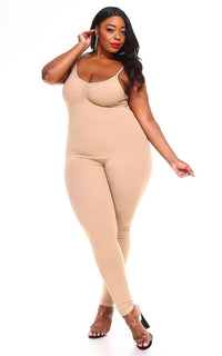 Plus Size Pinch Front Camisole Unitard in Nude