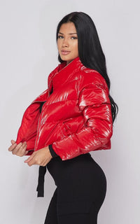 Cropped Puffer Jacket in Red