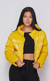 Cropped Puffer Jacket in Mustard