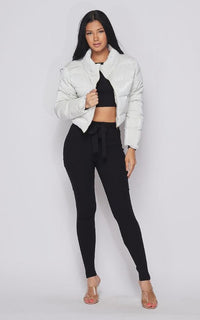Cropped Puffer Jacket in White