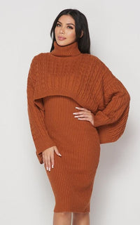 Turtle Neck Overlay Sweater Dress Set - Rust