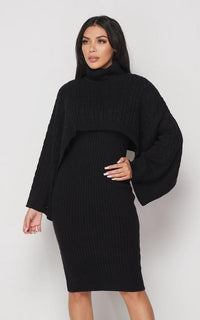Turtle Neck Overlay Sweater Dress Set - Black