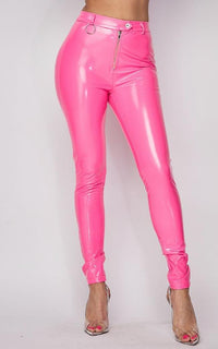 Button Up Waist Vinyl Faux Leather Pants - Neon Pink - SohoGirl.com