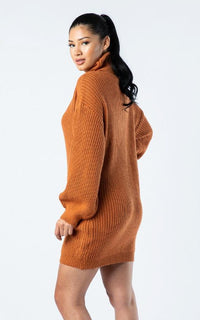Ribbed Turtle Neck Sweater Dress - Rust - SohoGirl.com