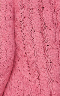 Cable Knit Mini Sweater Dress - Pink