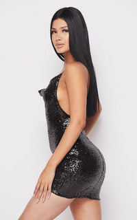 Sequin Cowl Neck Mini Dress - Black