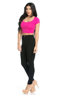Basic Crop Top in Fuchsia - SohoGirl.com