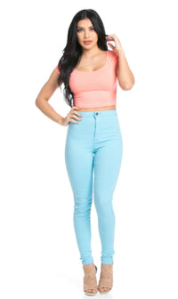 Basic Crop Top in Coral