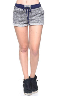 Comfy Banded High Waisted Heathered Shorts in Navy