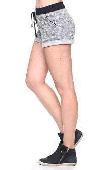 Comfy Banded High Waisted Heathered Shorts in Black