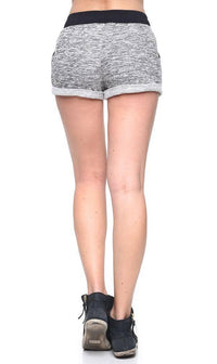Comfy Banded High Waisted Heathered Shorts in Black - SohoGirl.com
