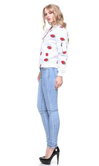 Strawberry Patched Lightweight Bomber Jacket in White - SohoGirl.com